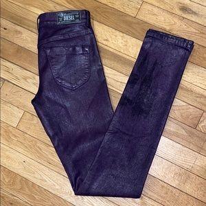Diesel skinny coated jeans pants bottoms denim